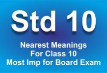 Nearest Meanings For Class 10 Most Imp for Board Exam